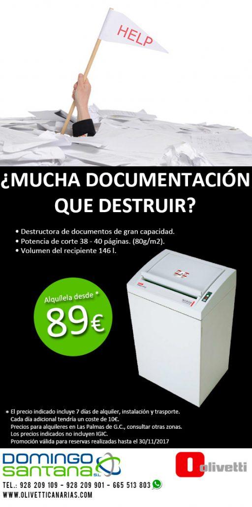Destructora de documentos Alquiler