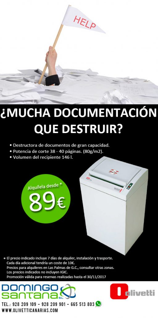 Destructora de documentos Alquiler